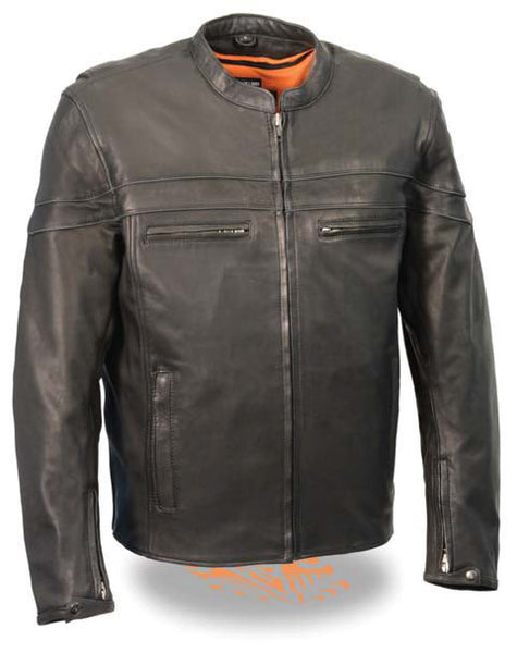 Men's Lightweight Naked Leather Motorcycle Jacket W/ Gun & Ammo Pockets