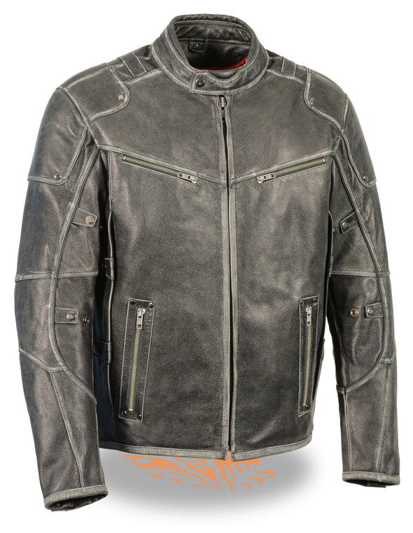 Men's Vintage Distressed Triple Vented Jacket With Side Stretch - Divine Leather USA - 1