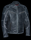 Men's Vintage Distressed Triple Vented Jacket With Side Stretch - Divine Leather USA - 3