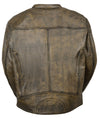 Men's Distressed Brown Motorcycle Premium Leather Jacket W/ Gun Pockets - Divine Leather USA - 2