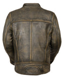 Men's Distressed Brown Motorcycle Premium Leather Jacket W/ Gun Pockets - Divine Leather USA - 4