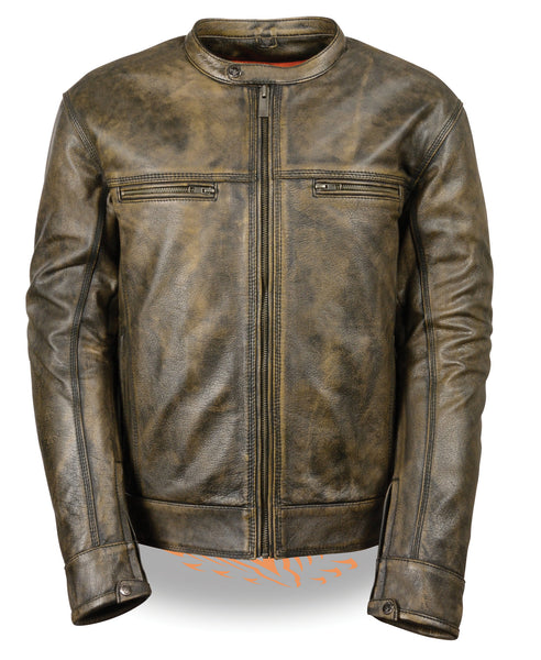 Men's Distressed Brown Motorcycle Premium Leather Jacket W/ Gun Pockets
