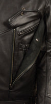 Men's Side Belt Motorcycle Black Leather Jacket W/Concealed Weapon & Ammo Pocket - Divine Leather USA - 4