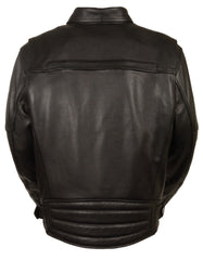 Men's Side Belt Motorcycle Black Leather Jacket W/Concealed Weapon & Ammo Pocket