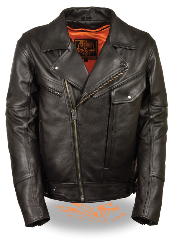 Men's Side Belt Motorcycle Black Leather Jacket W/Concealed Weapon & Ammo Pocket - Divine Leather USA - 1