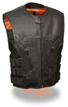 Men's Swat Style Zipper Front Vest - Divine Leather USA - 1