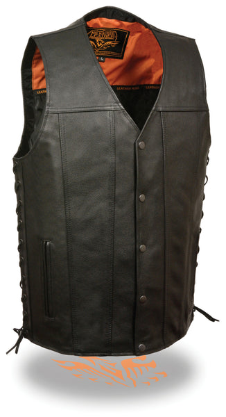 Men's Straight Motorcycle Biker Side Lace Leather Vest W/ Built in Gun Pockets