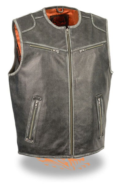 Men's Motorcycle Biker Distressed Black Leather Vest W/ Gun & Ammo Pockets