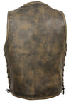 Men's Motorcycle Distressed Brown Leather Riding Vest W/ Inside Gun Pockets - Divine Leather USA - 2