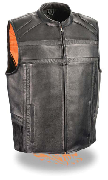 Men's Reflective Band & Piping Zipper Front Naked Leather Vest W/ Gun Pockets