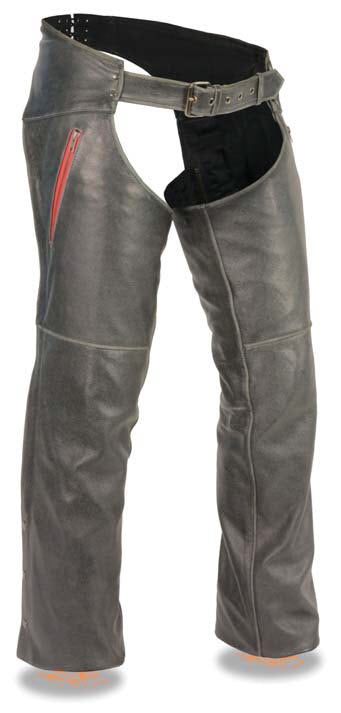 Men's Vintage Distressed Slate Chap W/ Deep Thigh Zippered Pockets - Divine Leather USA - 1