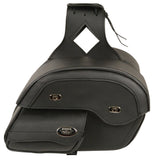 Cruiser Style Motorcycle Biker Slant Pouch Throw Over PVC Saddle Bag - Divine Leather USA - 3