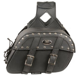 Medium Zip-Off PVC Studded Throw Over Saddle Bag - Divine Leather USA - 3