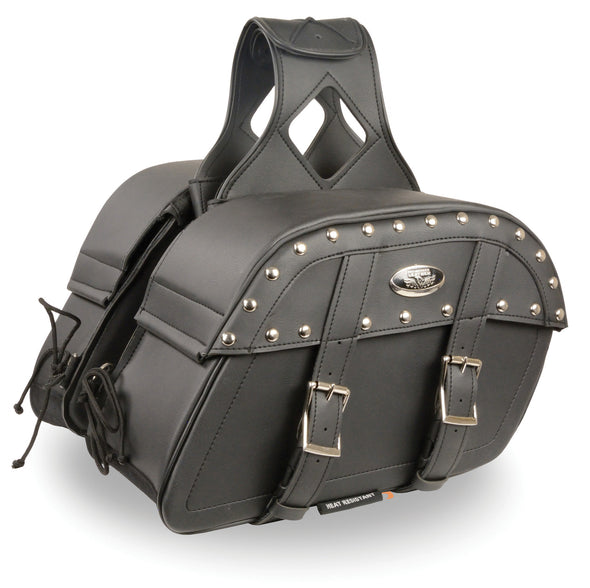 Medium Zip-Off PVC Studded Throw Over Saddle Bag - Divine Leather USA - 1