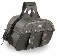 Medium Zip-Off PVC Studded Throw Over Saddle Bag