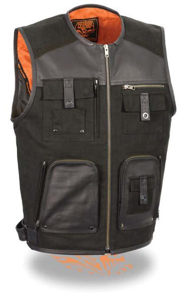 Men's Motorcycle Leather & Canvas Zipper Front Super Utility Multi Pocket Vest