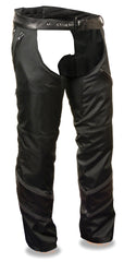 Men's Vented Textile Motorcycle Chap W/ Leather Trim and Snap-Out Liner