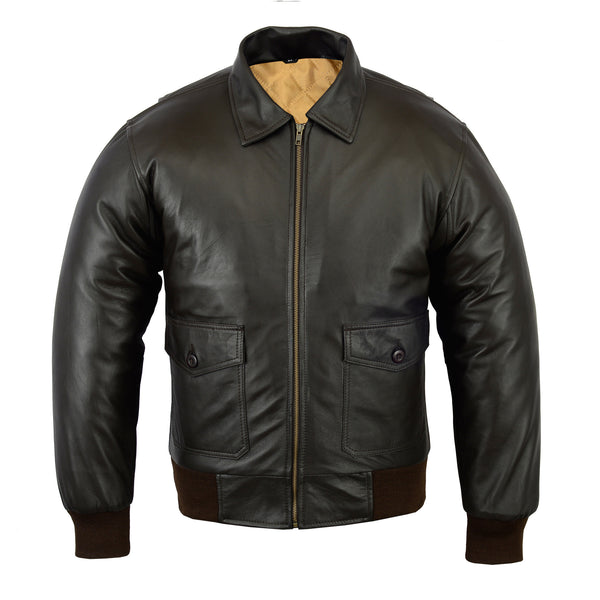 Men's Air Force A-2 WWII Style Vintage Dark Brown Flight Bomber Leather Jacket