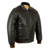 Men's Air Force A-2 WWII Style Vintage Dark Brown Flight Bomber Leather Jacket - Divine Leather USA - 4