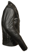 MEN'S CLASSIC SIDE Lcae Police Style M/C Jacket W/ Full Sleeve Zip-Out Liner - Divine Leather USA - 3
