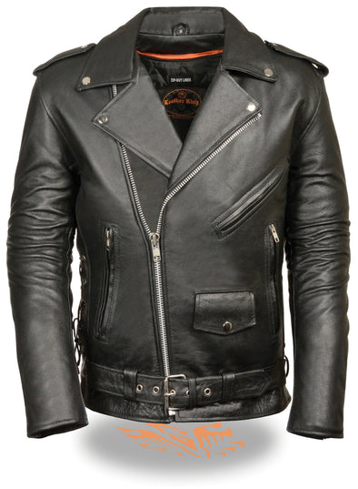 MEN'S CLASSIC SIDE Lcae Police Style M/C Jacket W/ Full Sleeve Zip-Out Liner - Divine Leather USA - 1