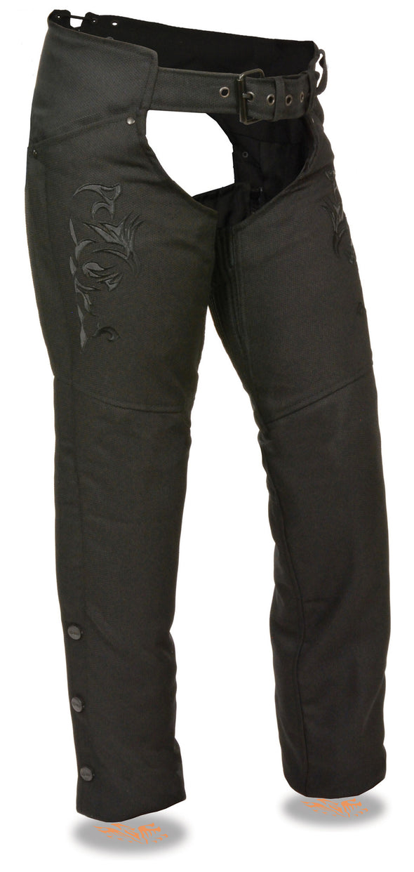 Women's Textile Chap W/ Tribal Embroidery & Reflective Detail - Divine Leather USA - 1