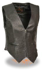 Ladies Zipper Front Side Stretch Motorcycle Premium Leather Vest Black