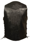 Men's 10 Pocket Side Lace Vest - Tall - Divine Leather USA - 2
