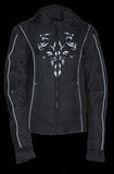 Ladies 3/4 Textile Jacket w/ Reflective Tribal Detail - Divine Leather USA - 4