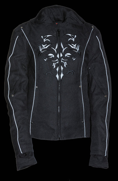 Ladies 3/4 Textile Jacket w/ Reflective Tribal Detail