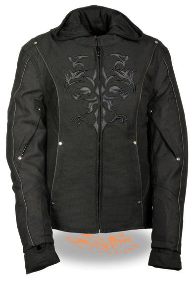 Ladies 3/4 Textile Jacket w/ Reflective Tribal Detail - Divine Leather USA - 1