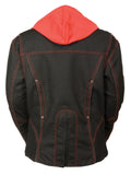 Ladies 3/4 Textile Jacket w/ Reflective Tribal Detail - Divine Leather USA - 8