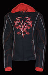 Ladies 3/4 Textile Jacket w/ Reflective Tribal Detail - Divine Leather USA - 11