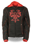 Ladies 3/4 Textile Jacket w/ Reflective Tribal Detail - Divine Leather USA - 7
