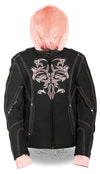 Women Motorcycle Nylon Jacket w/ Embroidery & Reflective Tribal Design - Divine Leather USA - 5