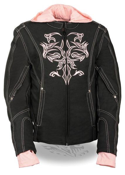 Women Motorcycle Nylon Jacket w/ Embroidery & Reflective Tribal Design