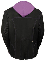 Ladies Premium Nylon Motorcycle Purple Jacket with Reflective Tribal Detail