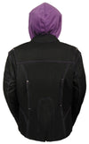 Ladies Premium Nylon Motorcycle Purple Jacket with Reflective Tribal Detail - Divine Leather USA - 6