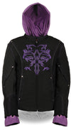 Ladies Premium Nylon Motorcycle Purple Jacket with Reflective Tribal Detail - Divine Leather USA - 5