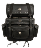 Motorcycle Large 2 Piece PVC Studded Touring Sissy Bar Bag - Divine Leather USA - 4