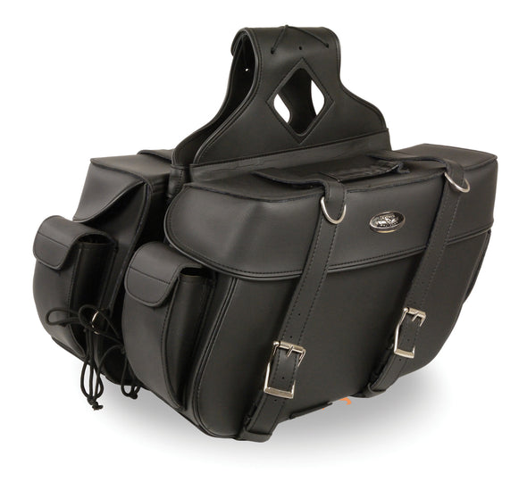 Large Zip-Off PVC Throw Over Two Strap Saddle Bag - Divine Leather USA - 1