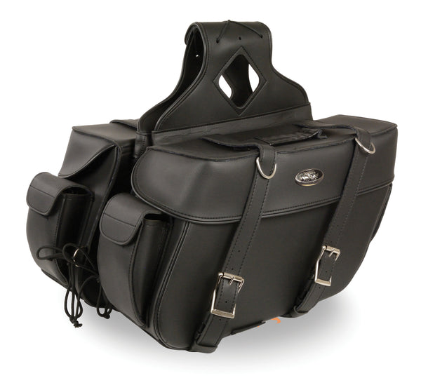Large Zip-Off PVC Throw Over Two Strap Saddle Bag