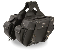 Medium Zip-Off PVC Throw Over Riveted Saddle Bag
