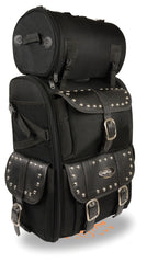Motorcycle Extra Large Two Piece Studded Nylon Touring Pack