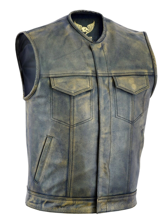 Men SOA Anarchy Distress Brown Motorcycle Biker Leather Vest with Gun Pockets