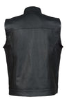 Men's SOA Motorcycle Biker Leather Vest with gun pockets  concealed carry arms - Divine Leather USA - 2