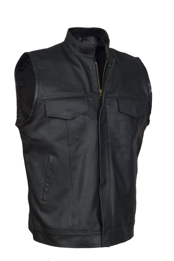 Men's SOA Motorcycle Biker Leather Vest with gun pockets  concealed carry arms - Divine Leather USA - 1