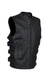Men's SWAT Style Motorcycle Vest With Two Inside Pockets - Divine Leather USA - 1