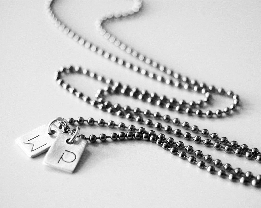 Minimalist Dog Tag Necklace - Two Sterling Silver Tags Personalized with Initials