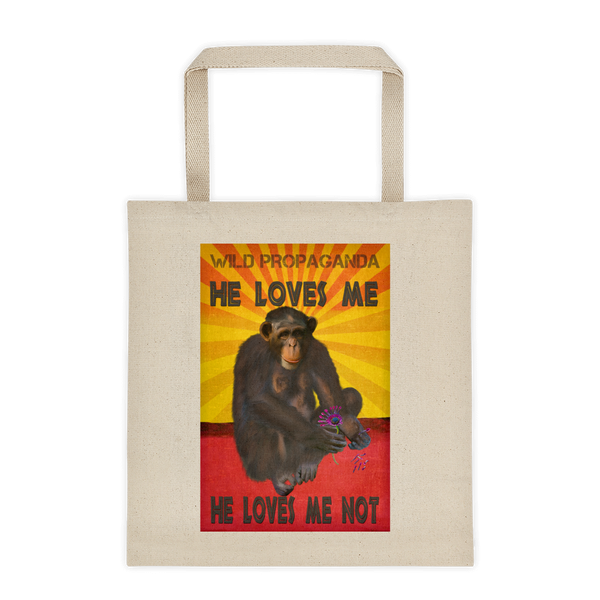 Chimpanzee - He loves me, he loves me not - Canvas Tote